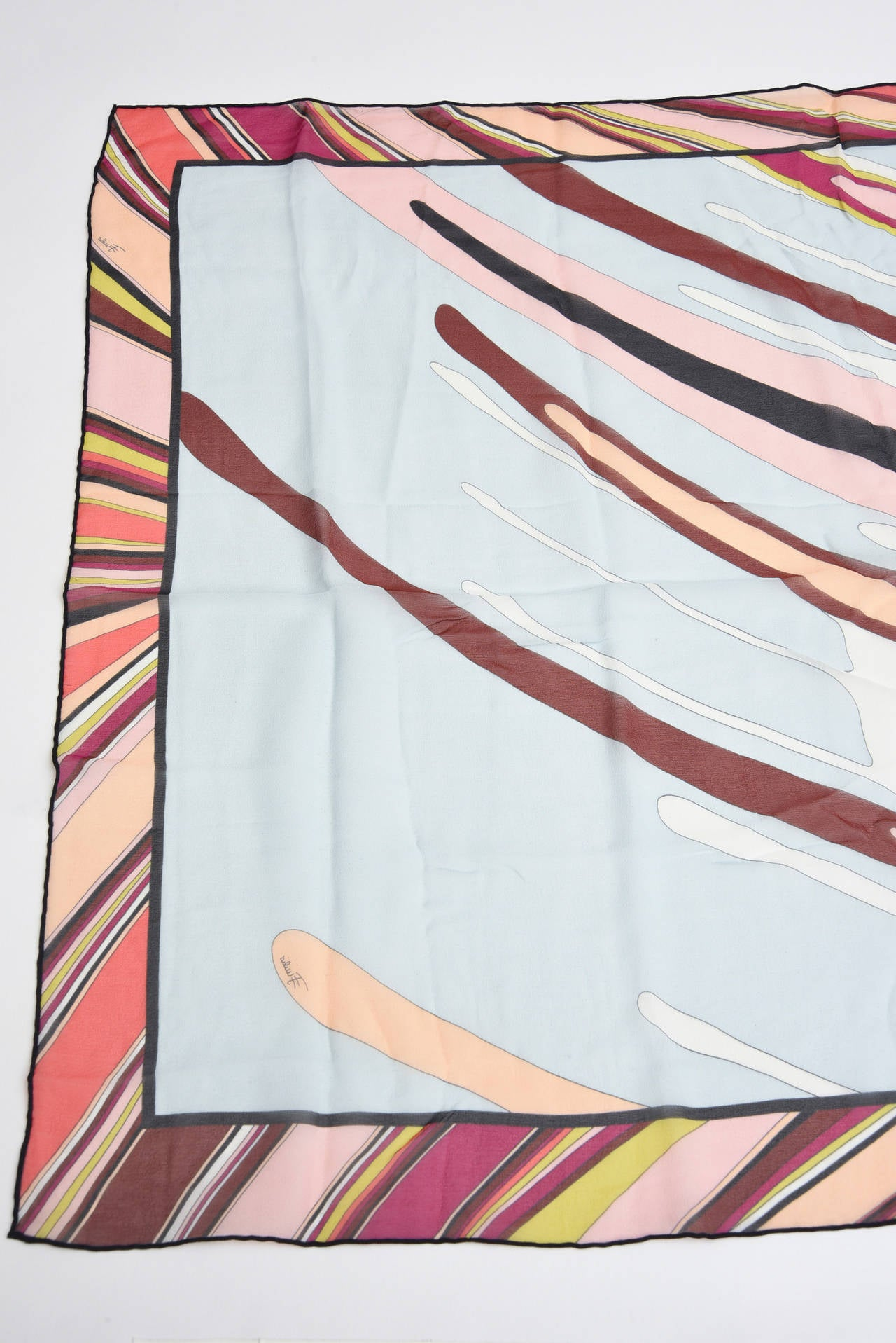Pucci Silk Oblong Scarf Vintage For Sale 1