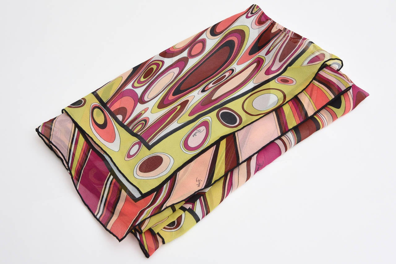 Pucci Silk Oblong Scarf Vintage For Sale 4