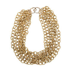 Italian 8 Row Textured Chain Necklace