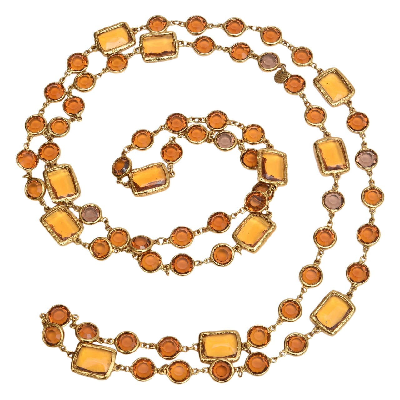 Chanel Chicklet Amber Glass and Brass Necklace For Sale