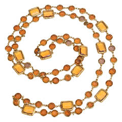 Chanel Chicklet Amber Glass and Brass Necklace