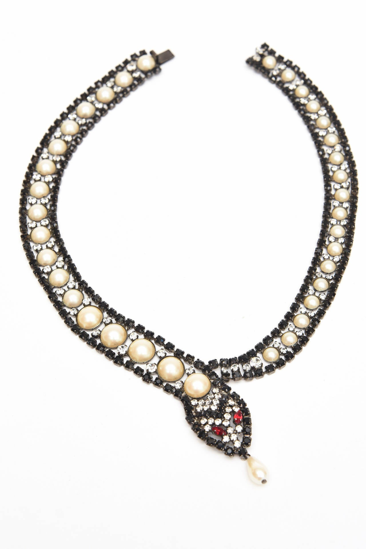 snake charmer faux pearl and rhinestone collar necklace at