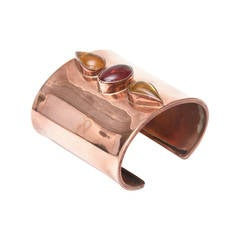 Fabulous Artisan  Cooper and Glass Stones Cuff