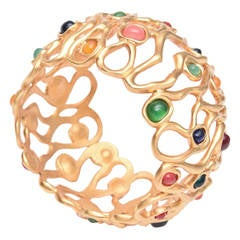 Gold Plated and Jewel Toned Stones Cuff Bracelet