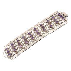 Hallmarked Mid Century Modern Sterling Silver & Amethyst Cuff Bracelet