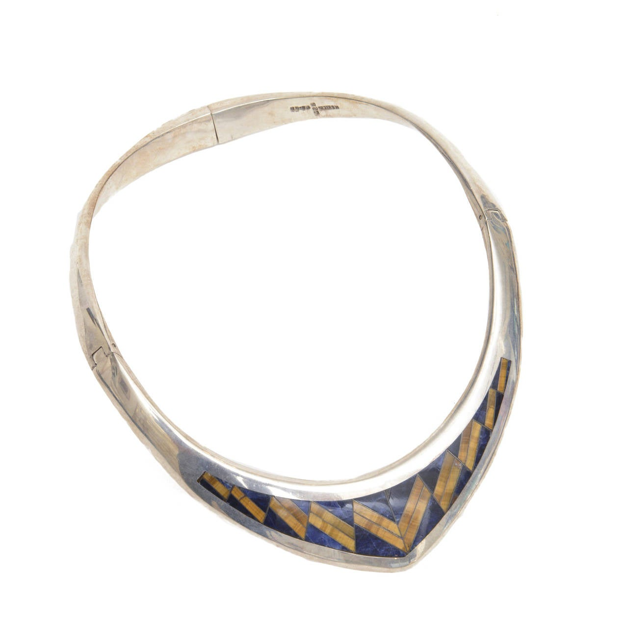 Sterling Silver, Lapis and Tiger's Eye V Collar Necklace  1