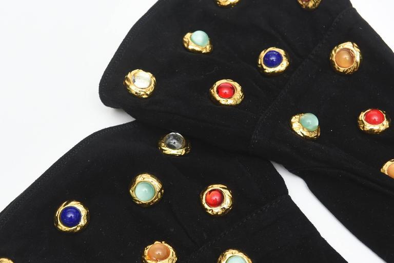 Givenchy Set of Black Suede Gloves & Black Velvet Stone & Fur Evening Bag 60's For Sale 3
