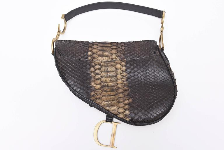 9db28cac25d Early Limited Edition John Galliano for Christian Dior Python Saddle Bag /  SALE For Sale 5