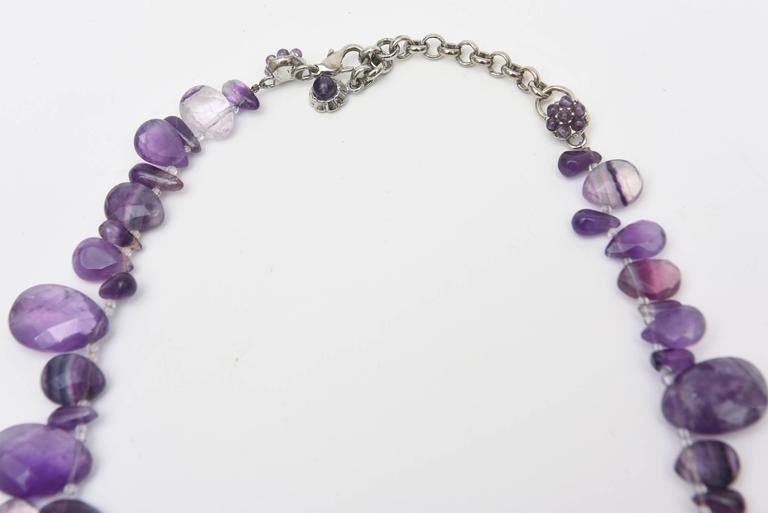 Modern Signed Siman Tu One of a Kind Amethyst & Silver Bib Necklace/  FINALE SALE For Sale