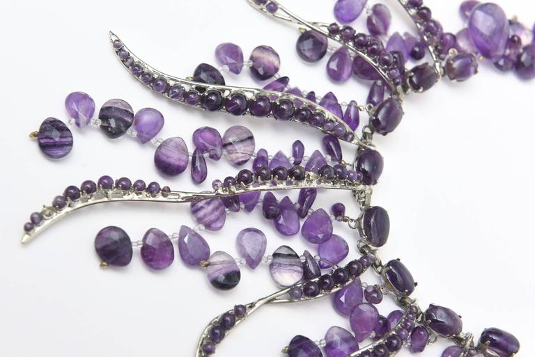 Signed Siman Tu One of a Kind Amethyst & Silver Bib Necklace/  FINALE SALE In Good Condition For Sale In North Miami, FL