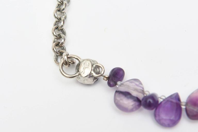 Signed Siman Tu One of a Kind Amethyst & Silver Bib Necklace/  FINALE SALE For Sale 1