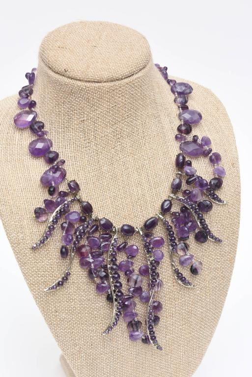 Signed Siman Tu One of a Kind Amethyst & Silver Bib Necklace/  FINALE SALE For Sale 2