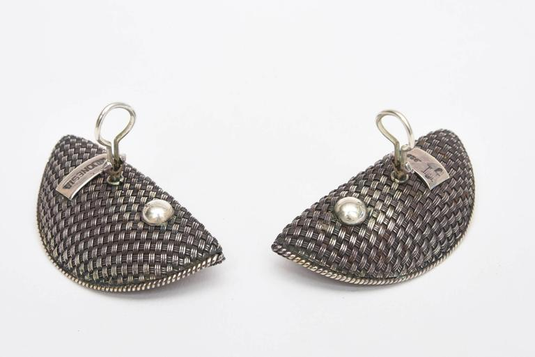 John Hardy Woven Sterling Silver Sculptural Clip On Earrings For Sale 2