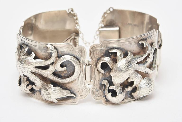 Sterling Silver Bracelet Signed Vintage In Good Condition For Sale In North Miami, FL