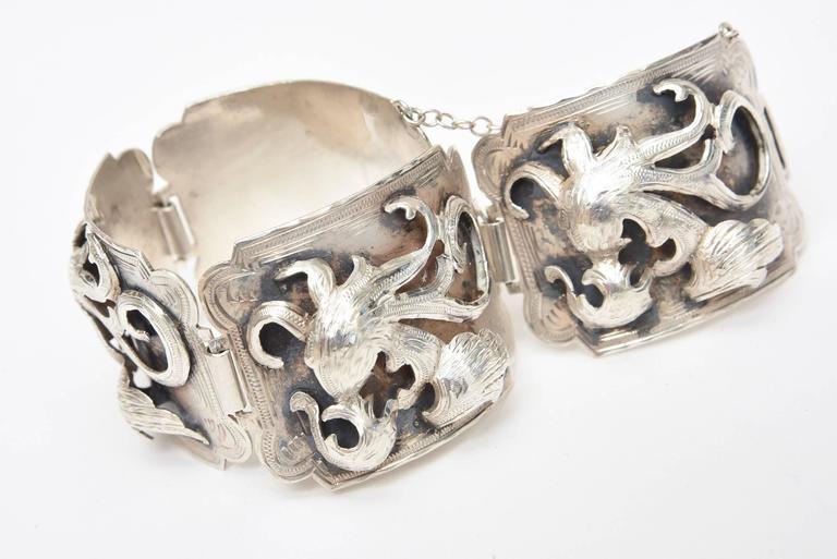 Sterling Silver Bracelet Signed Vintage For Sale 1