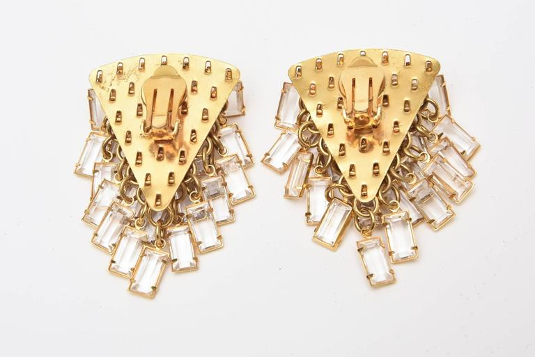Modern Italian Pair of  Vintage Gold Tone and Cascading Glass Sculptural Earrings For Sale