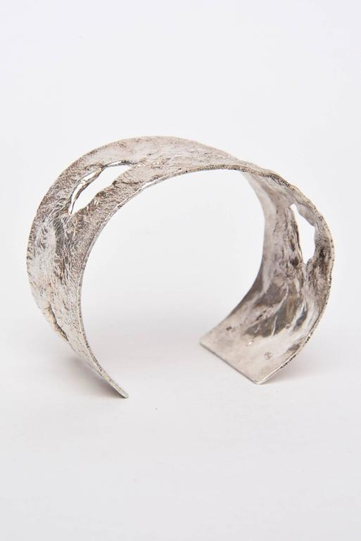 Modern Italian Sculptural Hallmarked Sterling Silver Cut Out Cuff Bracelet  For Sale