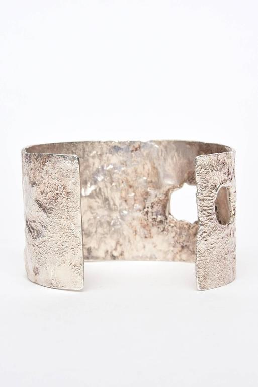 Women's Italian Sculptural Hallmarked Sterling Silver Cut Out Cuff Bracelet  For Sale