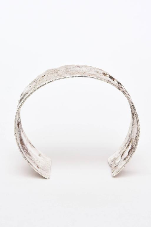 Italian Sculptural Hallmarked Sterling Silver Cut Out Cuff Bracelet  For Sale 1