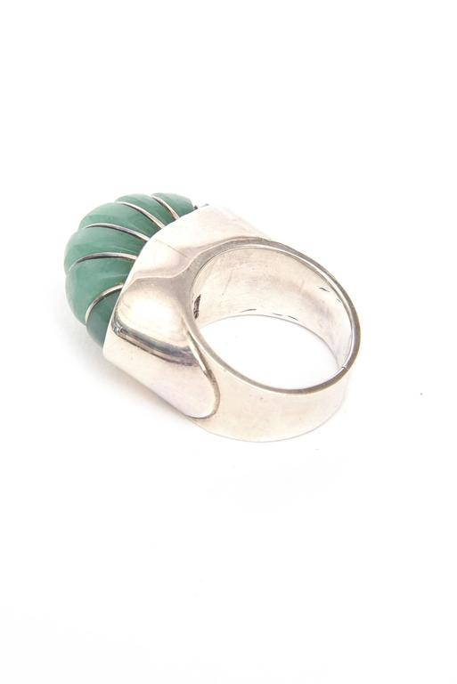 Modern Hallmarked Sculptural Sterling Silver And Jade Dome Ring For Sale