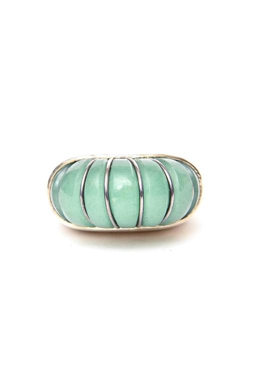 Hallmarked Sculptural Sterling Silver And Jade Dome Ring In Excellent Condition For Sale In North Miami, FL