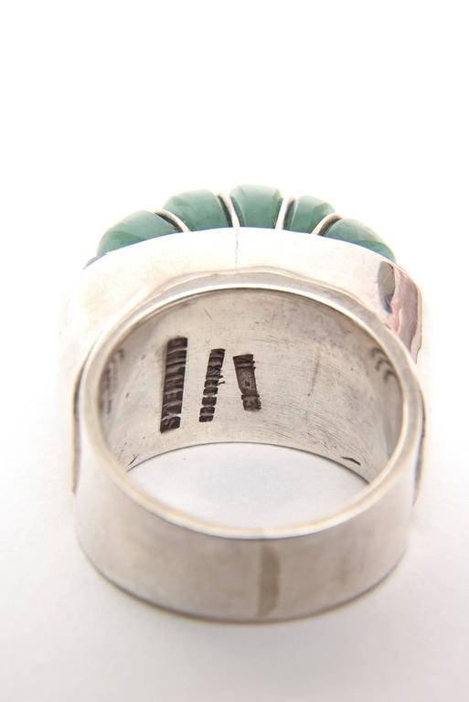 Hallmarked Sculptural Sterling Silver And Jade Dome Ring For Sale 1