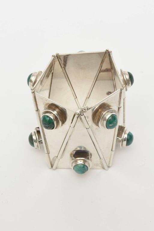 """This amazing and spectacular studio made one of a kind bracelet of Sterling Silver & Malachite, is a """"knock out""""! It was made by Jana Homsey and it came from a great estate in NYC. There was only one made... and it is from the 50's. It"""