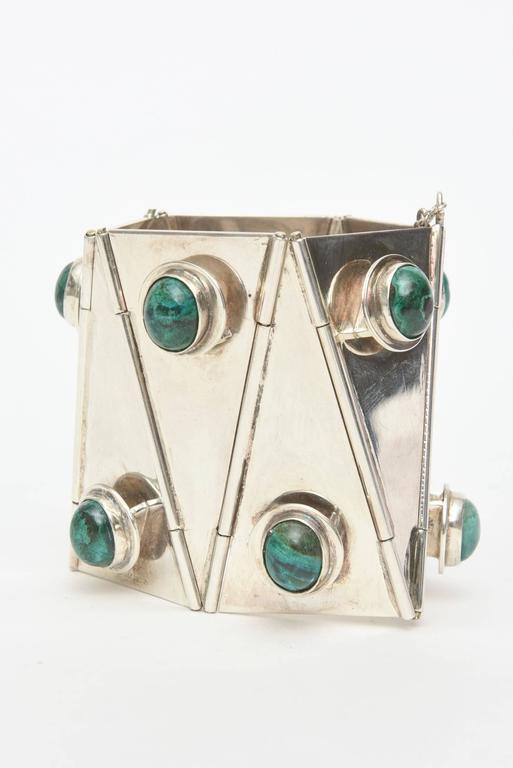 Modern Stellar One of A Kind Geometric, Sterling Silver & Malachite Cuff Bracelet  For Sale