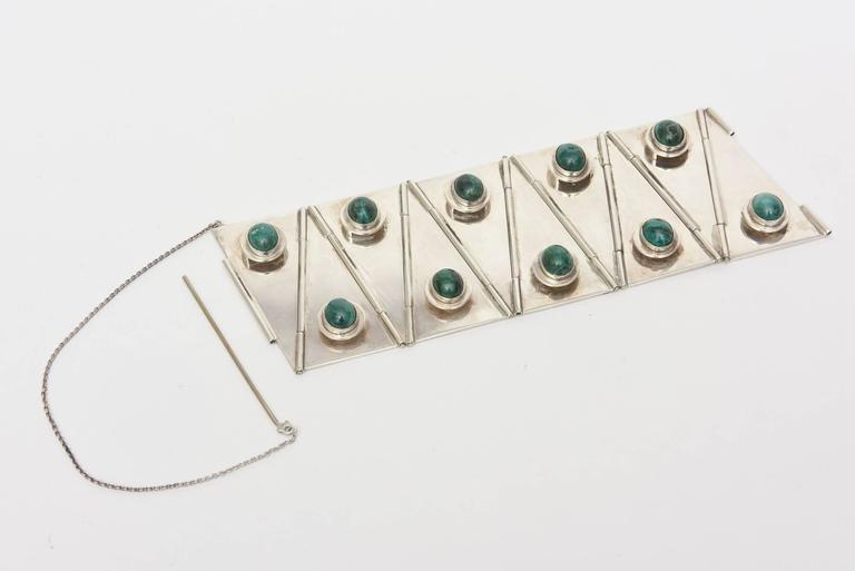 Women's Stellar One of A Kind Geometric, Sterling Silver & Malachite Cuff Bracelet  For Sale