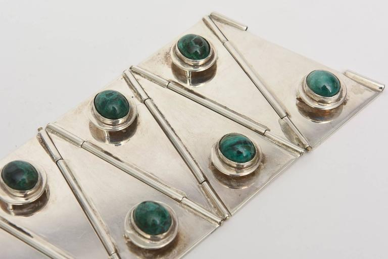 Stellar One of A Kind Geometric, Sterling Silver & Malachite Cuff Bracelet  For Sale 1