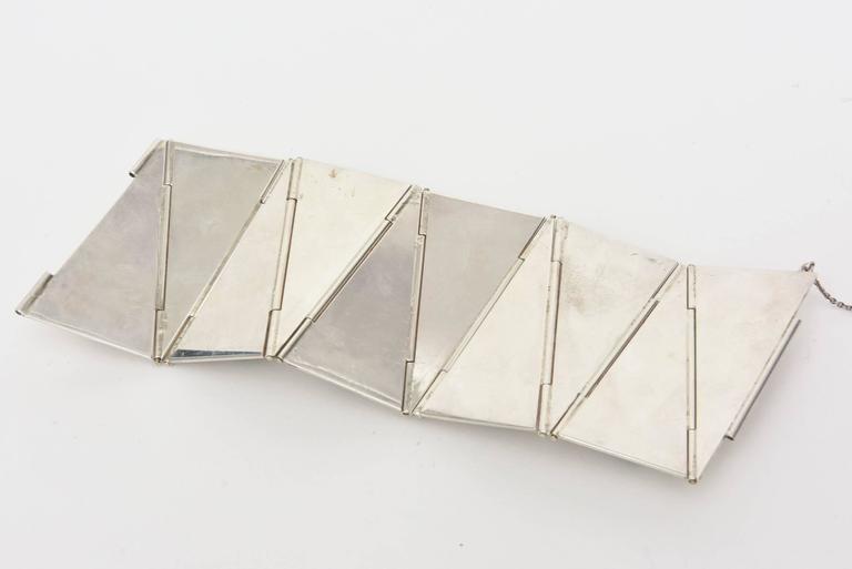 Stellar One of A Kind Geometric, Sterling Silver & Malachite Cuff Bracelet  For Sale 2