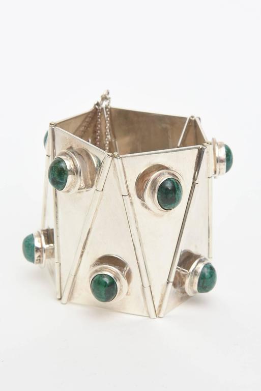 Stellar One of A Kind Geometric, Sterling Silver & Malachite Cuff Bracelet  For Sale 3