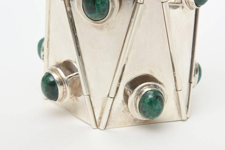 Stellar One of A Kind Geometric, Sterling Silver & Malachite Cuff Bracelet  For Sale 4