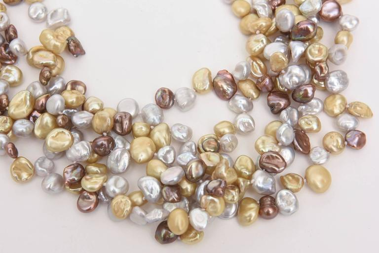 Modern Cultured Freshwater Pearl and Sterling Silver Multi Strand Necklace/  SALE For Sale