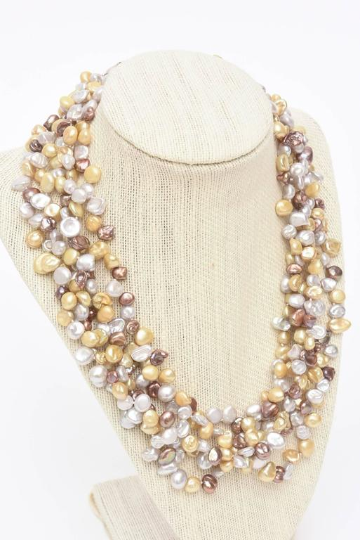 Cultured Freshwater Pearl and Sterling Silver Multi Strand Necklace/  SALE In Excellent Condition For Sale In North Miami, FL