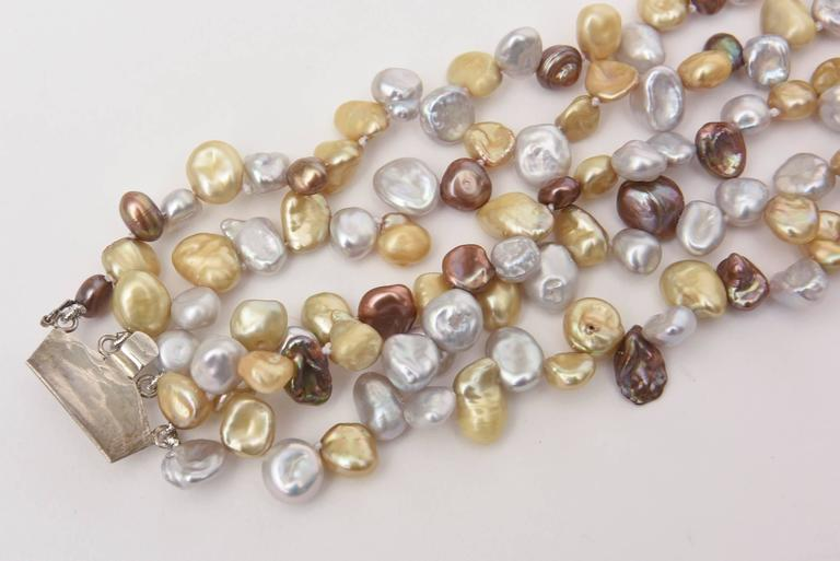 Cultured Freshwater Pearl and Sterling Silver Multi Strand Necklace/  SALE For Sale 2