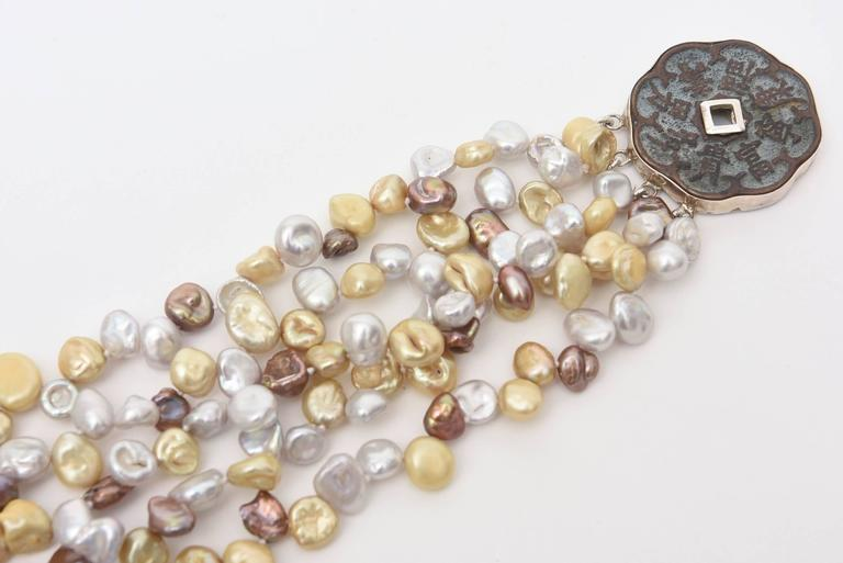 Cultured Freshwater Pearl and Sterling Silver Multi Strand Necklace/  SALE For Sale 3