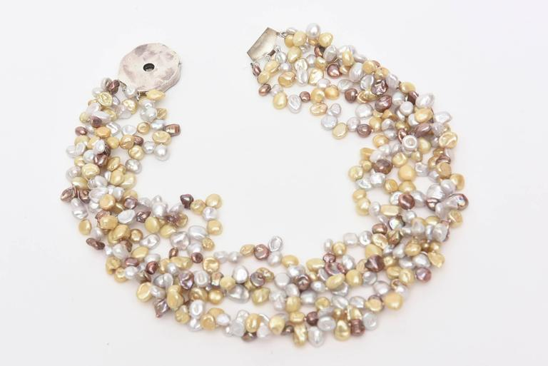 Cultured Freshwater Pearl and Sterling Silver Multi Strand Necklace/  SALE For Sale 4