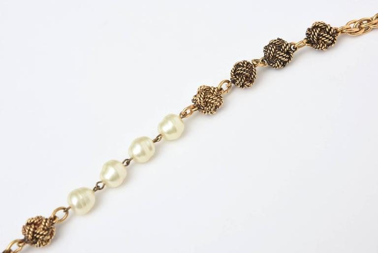 Signed Chanel Nacre Faux Pearl and Knot Long Necklace  2