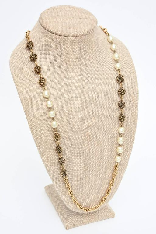Signed Chanel Nacre Faux Pearl and Knot Long Necklace  5