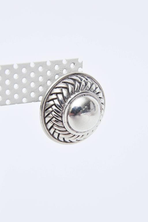 Modern  Barry Kieselstein-Cord Cord Sterling Silver Pierced Lever Back Earrings  For Sale