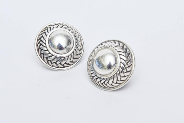 Barry Kieselstein-Cord Cord Sterling Silver Pierced Lever Back Earrings  For Sale 2