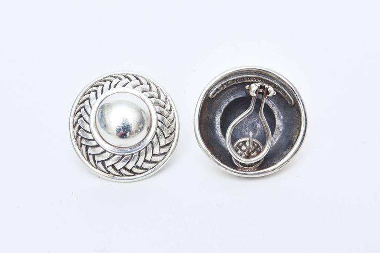 Barry Kieselstein-Cord Cord Sterling Silver Pierced Lever Back Earrings  For Sale 3