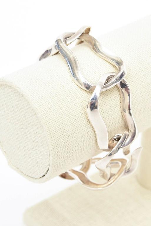 Angela Cummings For Tiffany Sterling Silver Modernist Sculptural Link Bracelet  For Sale 2