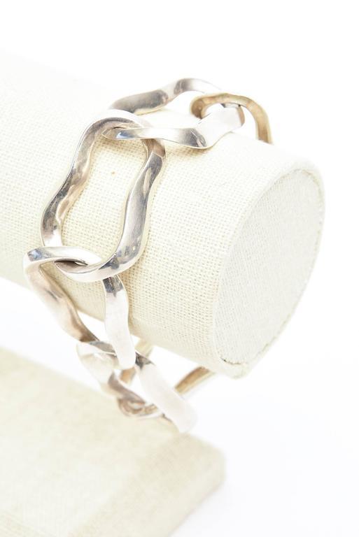 Angela Cummings For Tiffany Sterling Silver Modernist Sculptural Link Bracelet  For Sale 3