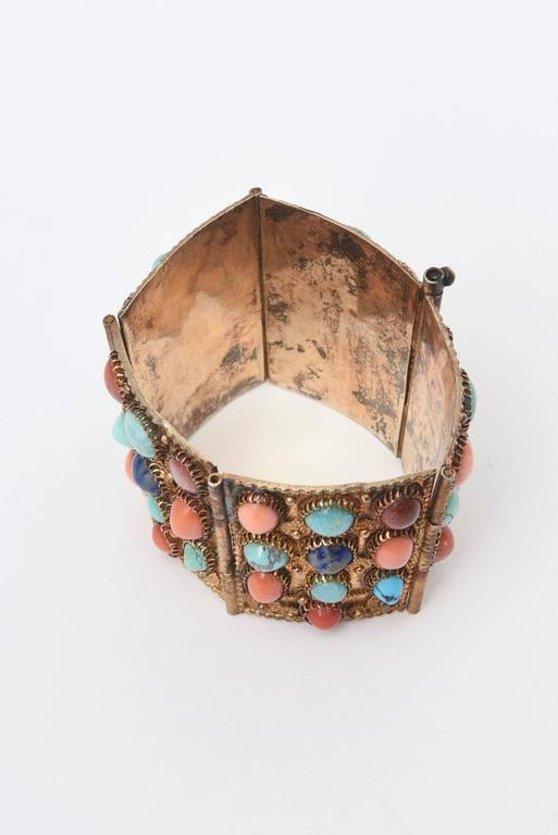 Stunning Egyptian Revival Lapis, Coral and Turquoise Vermeil Cuff Bracelet. In Good Condition For Sale In North Miami, FL