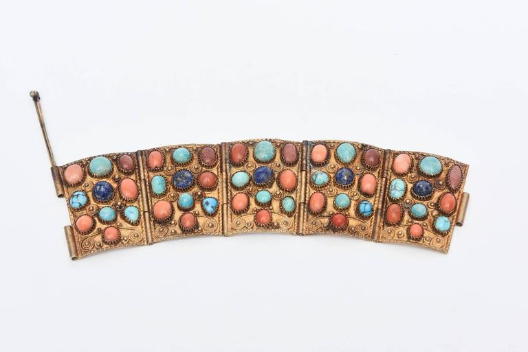 Women's Stunning Egyptian Revival Lapis, Coral and Turquoise Vermeil Cuff Bracelet. For Sale