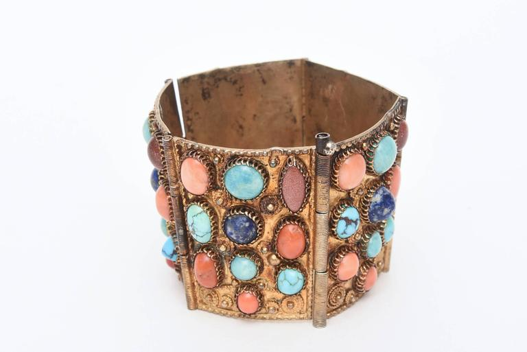 Stunning Egyptian Revival Lapis, Coral and Turquoise Vermeil Cuff Bracelet. For Sale 4