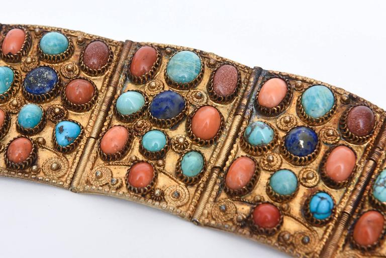 Stunning Egyptian Revival Lapis, Coral and Turquoise Vermeil Cuff Bracelet. For Sale 5