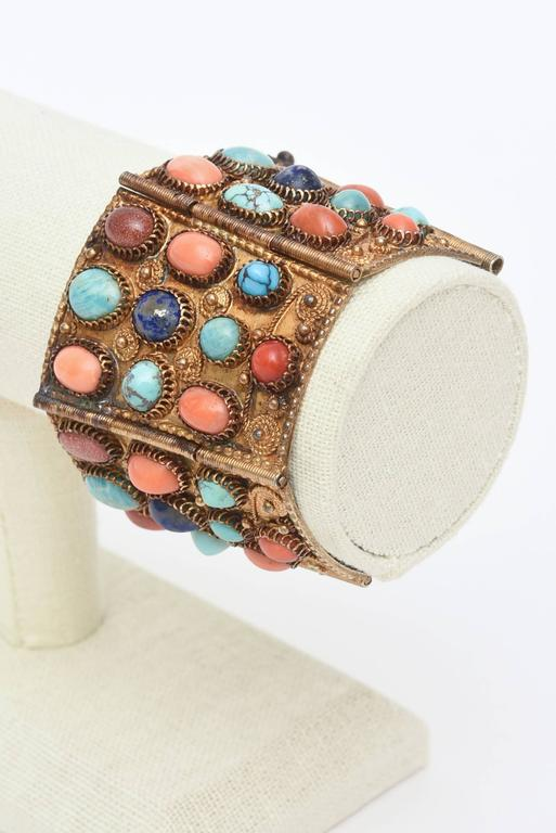 Stunning Egyptian Revival Lapis, Coral and Turquoise Vermeil Cuff Bracelet. For Sale 6